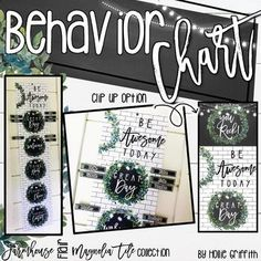 "Farmhouse Flair Magnolia TILE Behavior Chart: This behavior clip chart is perfect for keeping your students on task. Students begin each day on ""Good Day"" and clip down for misbehavior. I have included a bonus ""You Rock!"" if you like clipping students up.This classroom decor bundle is full of galvanized metal, subway tiles, chalkboards, string lights, lanterns, and beautiful magnolia wreaths! It is sure to give you the PERFECT ""home away from home."" #HollieGriffithTeaching"