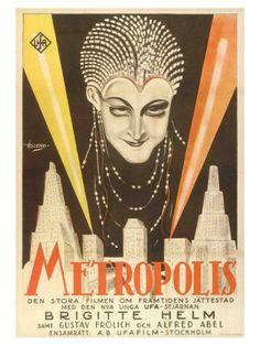 Arte gráfico de Metrópolis (1927). Póster sueco, 1927.