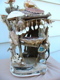 Mermaid beach dollhouse or decoration shells sea by forestwhimsy, $345.00