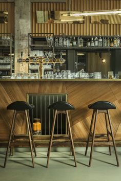 Bar Detail, Asymmetrical Shapes, Geometry, Bar Stools, Lighting, Retro Back of Bar Mix with Modern Shapes
