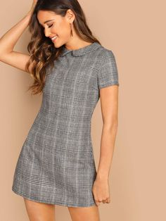 Product name: Peter-Pan-Collar Plaid Dress at SHEIN, Category: Dresses Women's Fashion Dresses, Fashion Clothes, Dress Outfits, Dress Clothes, Plaid Dress, Boho Dress, Dress P, Cute Dresses, Short Sleeve Dresses