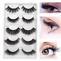 f921e84f6bc DAODER 5 Pairs Mink Eyelashes Pack Dramatic Lashes Natural Look False  Eyelashes Thick Lashes Volume Lashes Handmade Reusable 5 Different Styles  Long Wispy ...