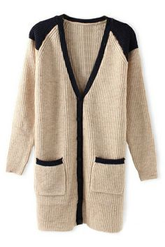 ROMWE | ROMWE Single-breasted Contrast Trimming Pocketed Cream Cardigan, The Latest Street Fashion