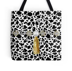 #FauxAnimalPrint #Jewels&FauxGoldTassel #ToteBag by #MoonDreamsMusic #FauxJewels #Black&White