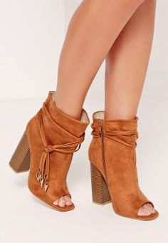 Rouched Wrap Around Peep Toe Ankle Boots Tan