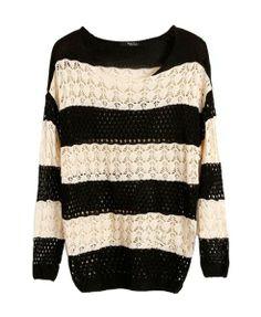 Batwing Sleeves Crochet Sweater in Stripe Print