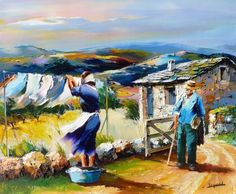 CHRISTIAN JEQUEL peinture au couteau Art Village, Images D'art, African Art Paintings, Art Gallery, Building Painting, Italy Art, Naive Art, Figure Painting, Beautiful Paintings