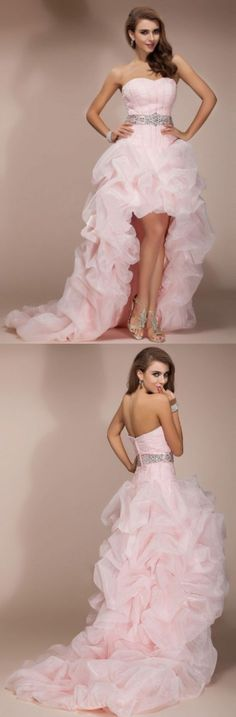 Clothes : Dresses : Pale Pink Ruffled High-Low Prom Dress with Silver Belt at Waist Line