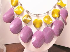 Chic Purple and Yellow Bib Necklace by RomanticThoughts on Etsy, $44.95