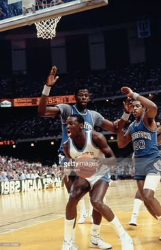 Action during the NCAA Championship as Patrick Ewing of Georgetown, defends against North Carolina's Michael Jordan. Michael Jordan Unc, Michael Jordan North Carolina, Jordan 23, Dean Smith, Patrick Ewing, College Basketball, Basketball Players, Ncaa, Georgetown Hoyas