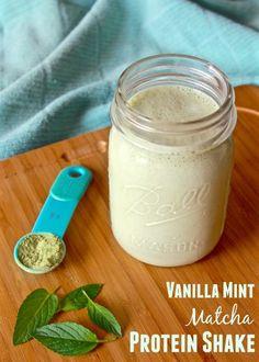 Vanilla Mint Matcha Protein Shake - Fit Mitten Kitchen