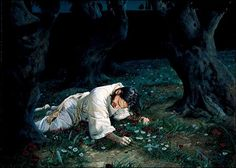 This is my favorite portrait of Gethsemane. The agony of Jesus drains Him of His strength, and He sweats His precious blood.