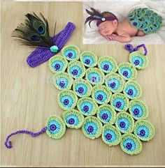 Peacock Baby Photography Prop Costume Newborn Feather Halloween Crochet Animal