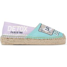 Leo Studio Design Espadrilles ($120) ❤ liked on Polyvore featuring shoes, sandals, turquoise, espadrilles shoes, flat sandals, rubber sole shoes, round toe flat shoes and flat shoes