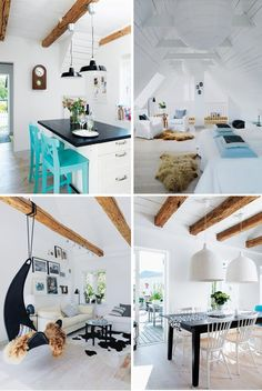 Colour inspiration- white with statement pieces in black and bright colour / natural timber