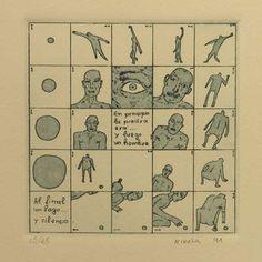 """S/T"", 1991. Aguafuerte y aguatinta sobre Zinc de 10x10 cm., Papel Michel de 240 gr. de medidas 38x27,5 cm. Ej.: 45"