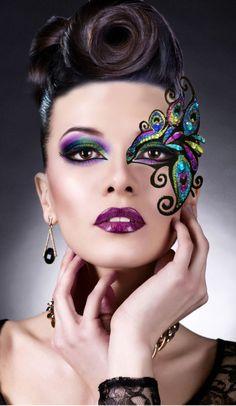Reusable Peacock Mardi Gras Jewel Gem Makeup Costume Half Face Feather Mask Set