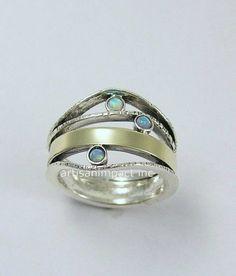 Multistones ring Boho Ring silver gold ring by artisanimpact