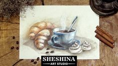 How to draw a сup of coffee and croissants with soft pastels 🎨 Food Illustration Coffee Drawing, Coffee Painting, Pastel Drawing, Pastel Art, Pastel Landscape, Pastel Pencils, Food Drawing, Food Illustrations, Aesthetic Art