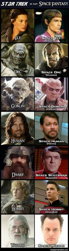 Star Trek is Just Space Fantasy, although I don't agree with the hobbit comparison at all Space Fantasy, Sci Fi Fantasy, Fantasy Star, Geek Culture, Pop Culture, Science Fiction, Science Memes, Into The West, Kino Film