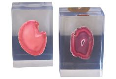 Pair of Agate Bookends, Pink