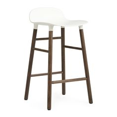Discover the Normann Copenhagen Form Barstool - Walnut - White at Amara