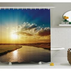 "Ambesonne Nature Dreamy Sunset on River Shower Curtain Set Size: 75"" H x 69"" W x 1"" D"