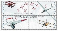 Canada post - 1999 -Canadian International Air Show, 1949-1999. :Issued on September 4, 1999, this four-stamp pane celebrates the 50th anniversary of the Canadian International Air Show. The eye-catching pane features a quartet of distinctive aircraft against a background of sky, with a formation of Canada's world-famous Snowbirds soaring across each pane. It was created by Toronto's Tiit Telmet and Marko Barac of Telmet Design Associates.