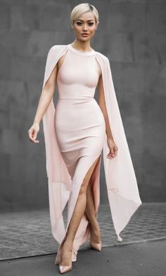 Sleeveless slit long maxi bandage floor length dress with chiffon bat long sleeves. Details - Rayon,Nylon, Spandex - Knitted - Imported - Dry Clean only - Fits One Size Small