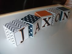 Wooden Name Blocks - Baby Name Blocks - Navy Gray Orange. $5.00, via Etsy. DIY - with scrap paper