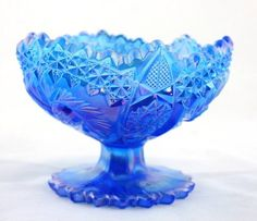 FENTON Carnival Glass Iridescent Cobalt Blue Pinwheel Footed Compote Candy Dish