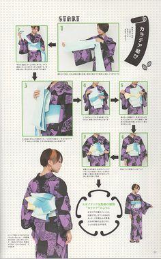 How to tie Hanhaba obi(?) into yet to be determined modern musubi, from Kimono… Kimono Japan, Yukata Kimono, Kimono Dress, Japanese Kimono, Kabuki Costume, Modern Kimono, Kimono Design, Japanese Outfits, Japan Fashion