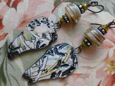 In The Bamboo Forest, Boho Ceramic Earrings, Organic Rustic Jewelry, Unusual Earrings, JosephineBeads, silverfishdesigns, Northernblooms
