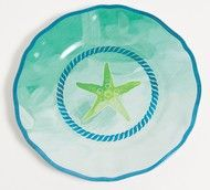 The Starfish Serving Platter is a mixture of pastel greens  and pretty aqua starfish with a hand painted brush look. Coordinates so well with the matching outdoor dinnerware pieces. Your guests will t