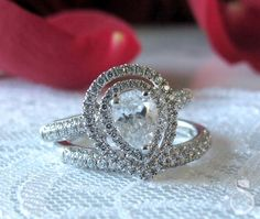 Double Halo Tear Drop Diamond Engagement Ring from Sylvie Collection