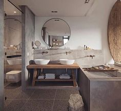 Bathroom envy love the double vanity and decor in this awesome modern / industrial bathroom design, double tap if you agree .