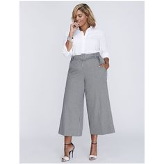 Lane Bryant Plus Size Ashley Tailored Stretch Belted Glenplaid Culotte ($70) ❤ liked on Polyvore featuring pants, capris, black, plus size, zip pants, plus size trousers, drapey pants, womens plus pants and tailored trousers