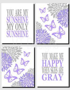 Purple Gray Nursery Art Butterflies Wall Art Flowers by vtdesigns Butterfly Bedroom, Butterfly Wall Art, Purple Butterfly, Nursery Art, Girl Nursery, Ocean Nursery, Nursery Ideas, Purple Rooms, Little Girl Rooms