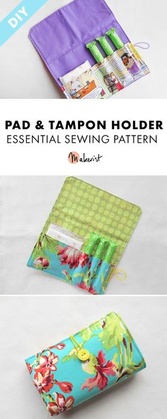 Super easy sewing pattern for a pad and tampon pouch. Keep all your pads, tampons and menstrual cups together and tidy! Period Pads, Diy Sewing Projects, Sewing Crafts, Diy Crafts, Simple Wallet, Easy Sewing Patterns, Pattern Sewing, Diy Bags Purses, Pouch Pattern