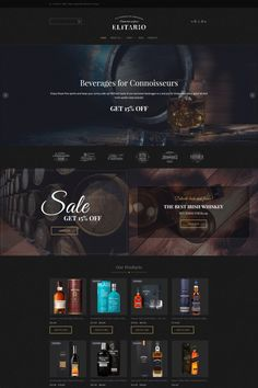 Live demo for Elitario - Online Beverage Stores MotoCMS Ecommerce Template Template Web, Ecommerce Template, Website Template, Templates, Web Design Software, Web Ui Design, Page Design, Flat Design, Modern Web Design