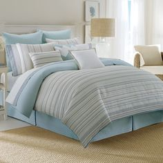 marina isles by nautica bedding puts a nautical twist on stripe design the jacquard cotton - Blue Bedding Sets