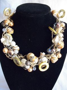 Beaded Crochet Wire Necklace - Shells, Pearls. Crystals, Glass Beads