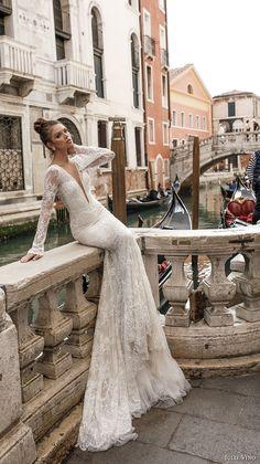 julie vino spring 2018 bridal long sleeves deep plunging v neck full embellishment lace elegant sexy fit and flare wedding dress open v back chapel train (04) mv -- Julie Vino Spring 2018 Wedding Dresses