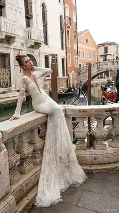 julie vino spring 2018 bridal long sleeves deep plunging v neck full embellishment lace elegant sexy fit and flare wedding dress open v back chapel train (04) mv -- Julie Vino Spring 2018 Wedding Dresses