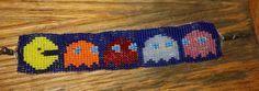 Pac man & ghosts weaved beaded bracelet- made upon order. retro pixelated Video Game bracelet! custom orders accepted