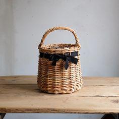 Encachette リボンバスケット パニエ/ブラック