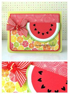 watermelon could be used for a lot of summer birthday cards, and could be easy to make with a circle cutter