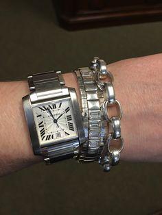 Cartier Tank Francaise, retired Silpada cz stretch bracelet (via eBay), Sundance heavy link bracelet.