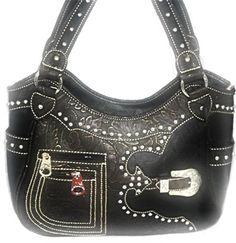 Concealed Carry Handbag CCW Gun Purse Montana West -Tooled w/ Buckle - Black  $74.99 + Free Shipping!  wantedwardrobe.com  wantedwardrobe.net  #handbags #western #CCW #fashion