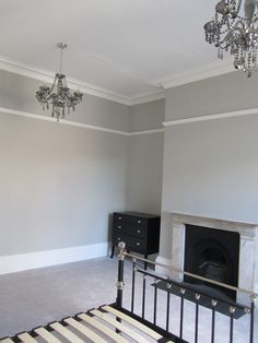 Guest Room - Farrow and Ball Pavilion Grey walls and double chandeliers